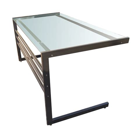 small glass and metal computer desk bukit home interior and exterior