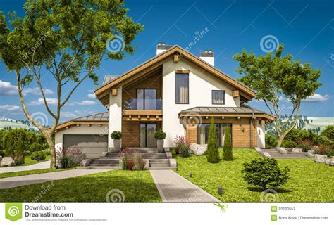 chalet style homes for sale 3d rendering of modern cozy house in chalet style stock illustration image 91130557