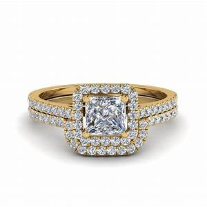 princess cut square halo diamond ring with curved band in With square diamond wedding ring sets