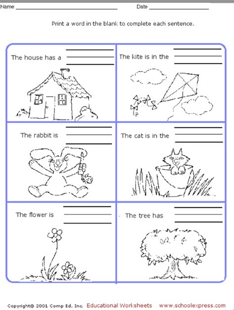 education world school express sentence worksheet