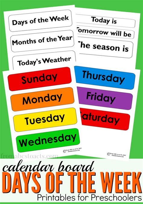 days   week calendar board printable  abcs  acts