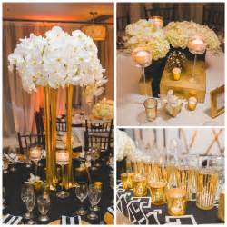 silver centerpieces real wedding deco white black and gold wedding at