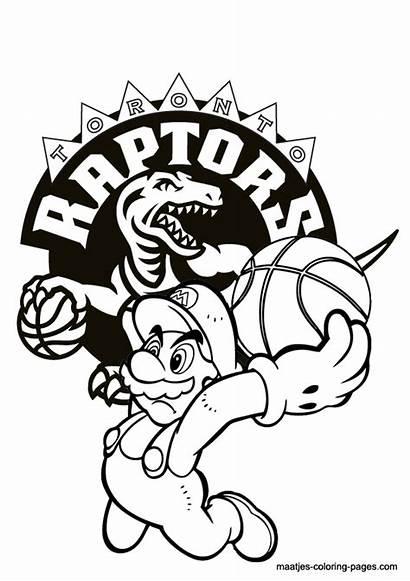Coloring Pages Raptors Toronto Nba Mario Super