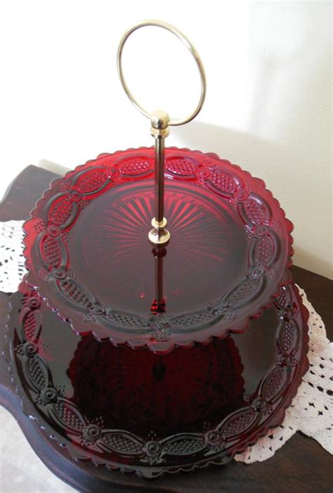 avon cape  ruby red glass  tier serving tray