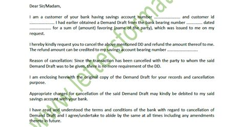 stop payment  demand draft dd letter  bank