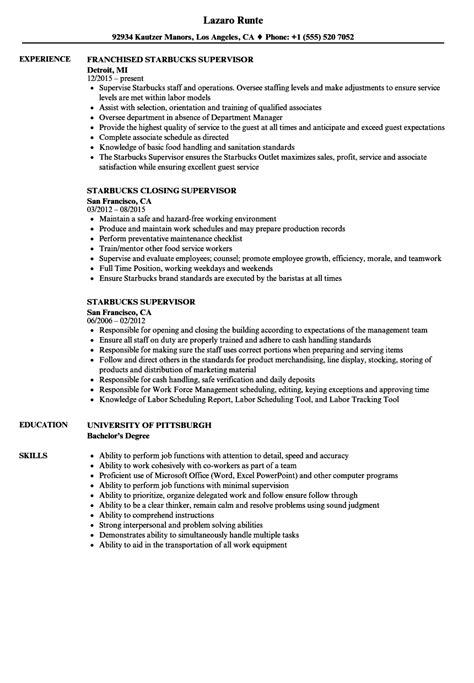 Starbucks Resume by Starbucks Supervisor Resume Sles Velvet