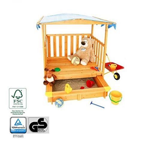 kinderspielhaus mit sandkasten spielhaus mit sandkasten und dach t 220 v gepr 252 fte sicherheit holz fsc 174 spielhaus kinder de