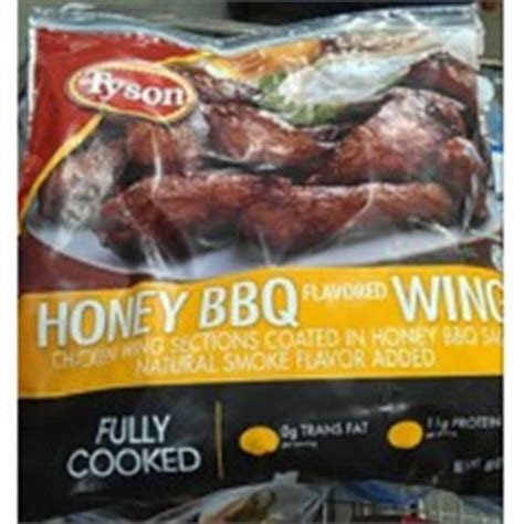 tyson honey bbq flavored chicken wings calories