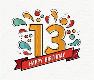 Colorful happy birthday number 13 flat line design — Stock ...