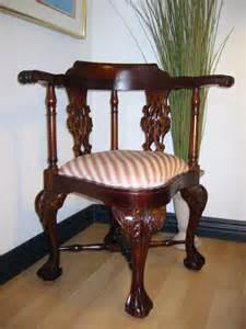 george ii style mahogany corner chair updated upholstery