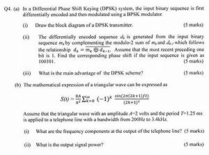 Solved  In A Differential Phase Shift Keying  Dpsk  System