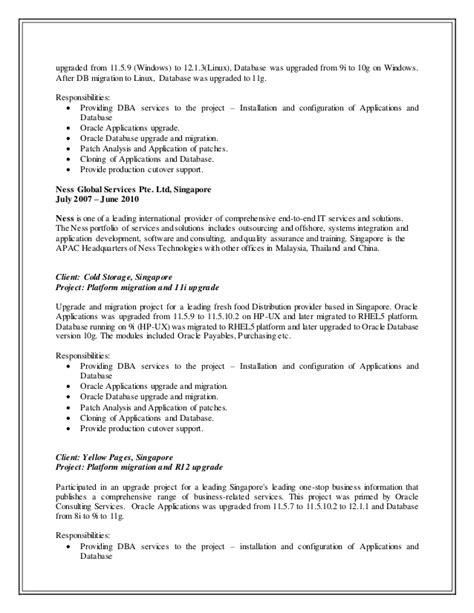 Senior Oracle Dba Resume by Updated Resume Senior Oracle Applications Dba