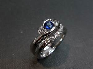 Set of two diamond blue sapphire engagement ring and for Sapphire engagement ring and wedding band set