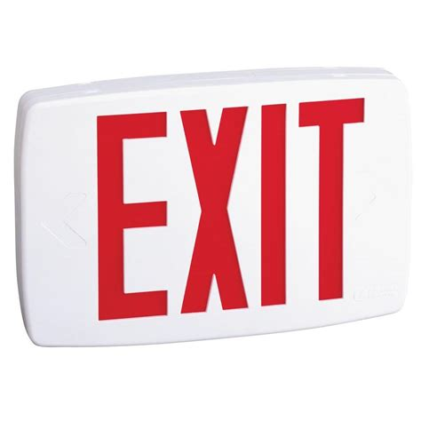 lithonia lighting plastic white led emergency exit sign