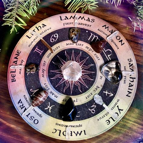 Wheel of the Year Gemstone Grid for honoring the passage ...
