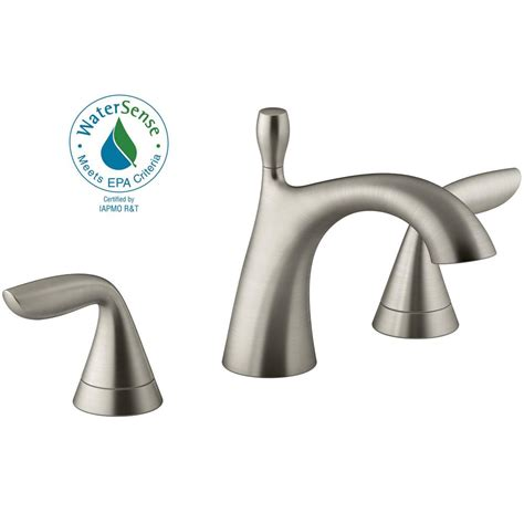 kohler williamette   widespread  handle bathroom faucet  drain  vibrant brushed