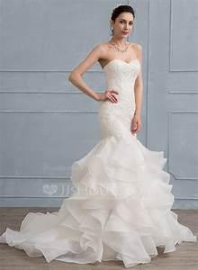 trumpet mermaid sweetheart sweep train organza lace With trumpet mermaid wedding dress