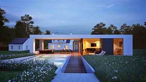 White, Rectangle, Contemporary, Minimalist, House, Design, With, Beautiful, Garden, In, Usa