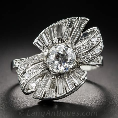 1950s Diamond Bowmotif Cocktail Ring. Oblong Diamond. Antique Diamond Necklace. Necklace Brooch. Lace Earrings