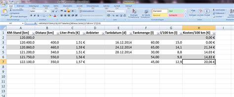 benzin verbrauch kosten berechnen office loesungde