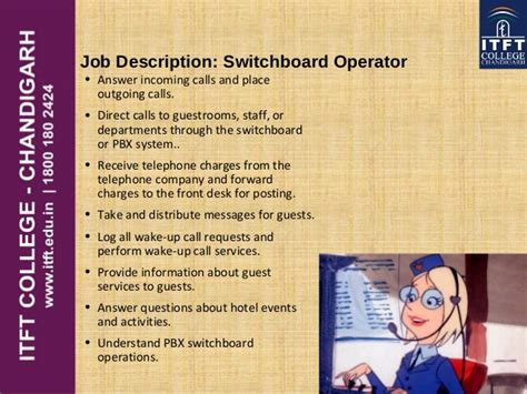 Telephone Operator Description Duties by Itft Front Office Introduction