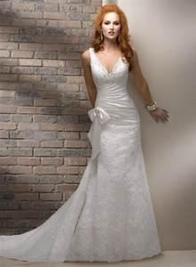 a line spaghetti strap appliques lace bow column sheath With spaghetti strap a line wedding dress