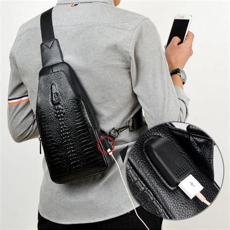 fashion men chest bag messenger bags leather usb charging casual mens travel shoulder bags