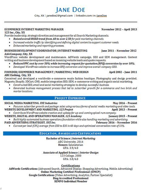marketing resume  seo advertising
