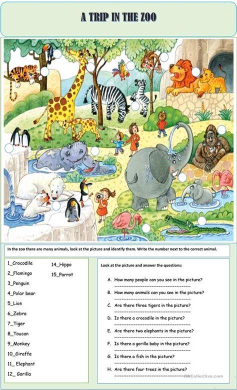 trip   zoo worksheet  esl printable