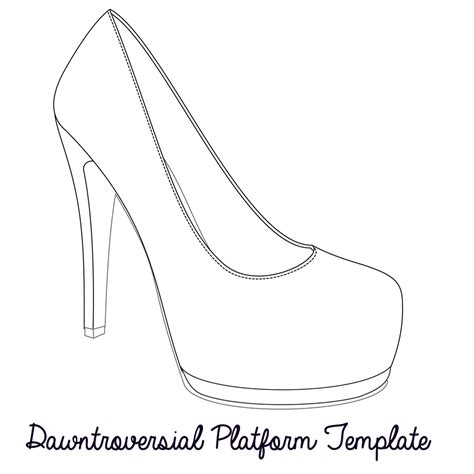 shoe template high heel outline clipart clipart suggest