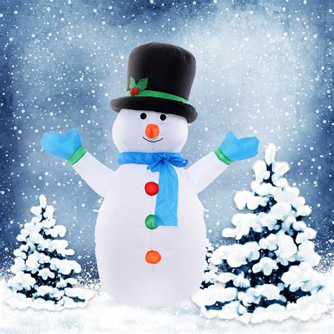 inflatable snowman family lighted christmas yard art