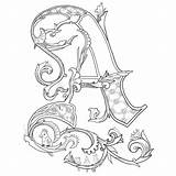 Illuminated Letters Alphabet Alice Coloring Manuscript Pages Lettering Calligraphy sketch template