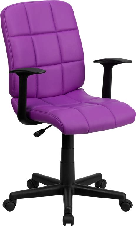 purple desk chair mid back purple quilted vinyl swivel task chair with arms