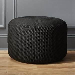 criss knit black pouf
