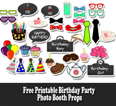 printable birthday party photo booth props