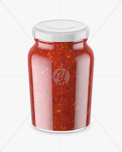 Showcase your mustard, fruit jam, sauce packaging labeling designs in a photorealistic style. Clear Glass Jar With Sweet Sour Sauce Mockup