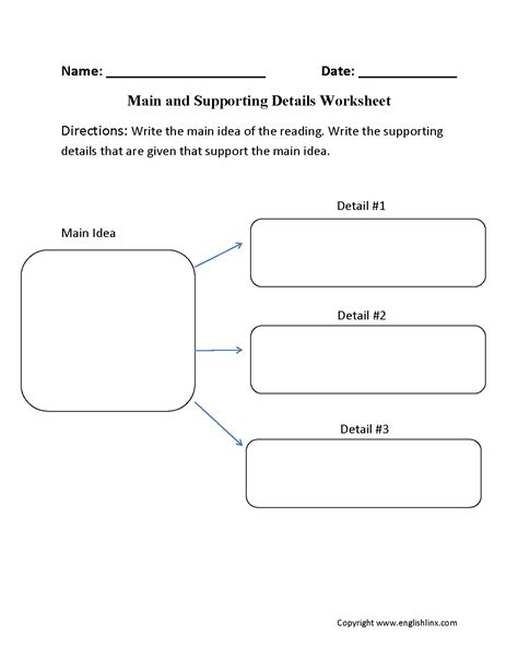 idea and supporting details worksheet idea worksheets idea and supporting details