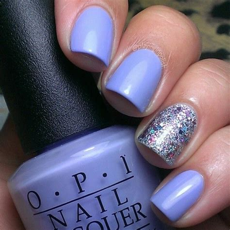 lavender nails  silverbluepink glitter accent nail
