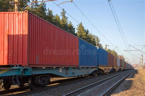 Cargo Containers Transportation On Freight Train By ...