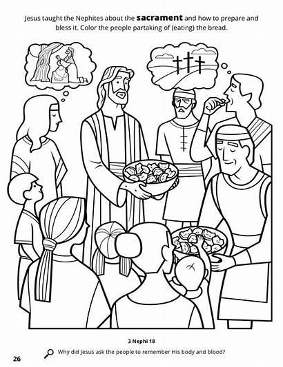 Jesus Coloring Sacrament Nephites Mormon Lds Among