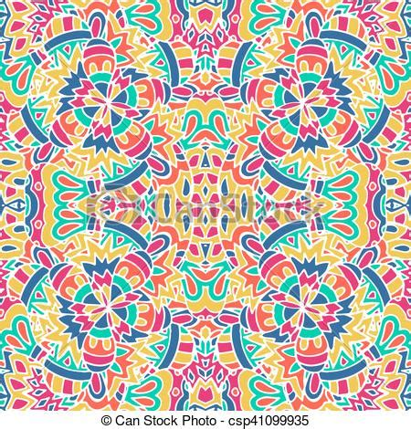 Vector seamless pattern ethnic geometric print colorful