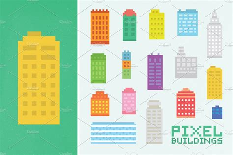 pixel buildings set graphic objects creative market