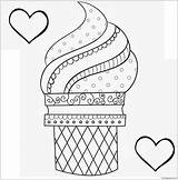 Coloring Ice Cream Pages Printable Dessert Toddler Sandwich Sheets Cone Detailed Clipart sketch template