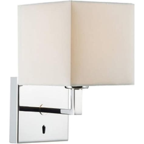 modern chrome bed wall light with ivory cotton shade