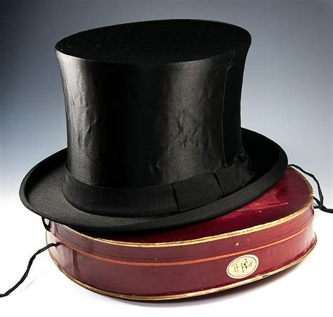 top hat table l antique victorian edwardian era silk top hat french