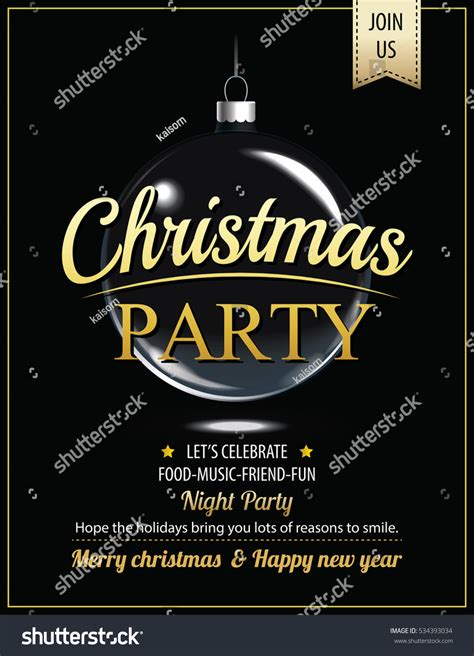 invitation merry christmas party poster card stock vector