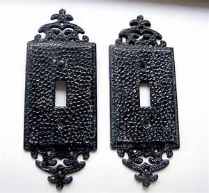 Vintage, Ornate, Light, Switch, Covers, Plates, Black, Fancy