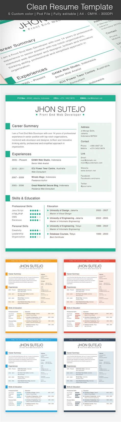 39 best images about photoshop resume templates on