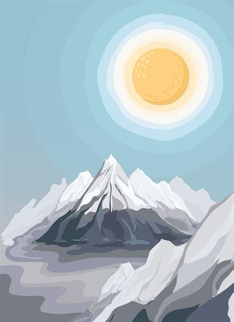 Painted mountain view landscape illustration - Download ...