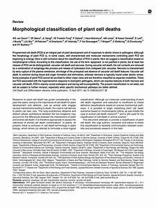 Pdf  Morphological Classification Of Plant Cell Deaths
